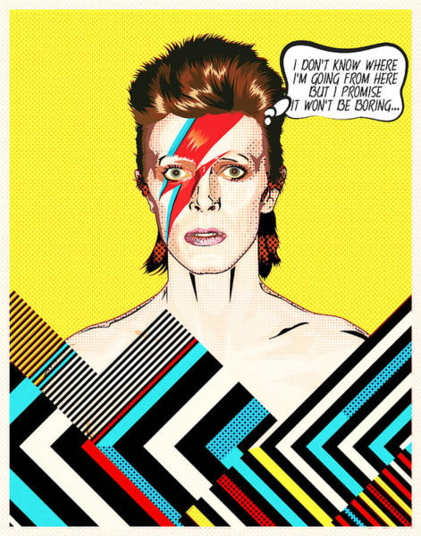 Glam Rock Digital Art - David Bowie Pop Art by BONB Creative