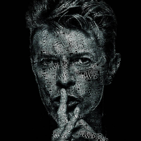 Glam Rock Digital Art - David Bowie Text Portrait - Typographic Face Poster Created With All The Album Titles By David Bowie by JESP Art and Decor