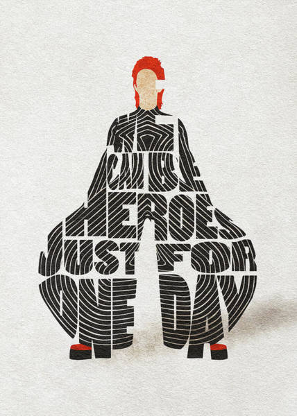 Fashion Digital Art - David Bowie Typography Art by Inspirowl Design