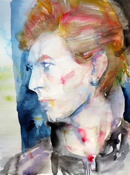 David Bowie Painting - David Bowie - Watercolor Portrait.12 by Fabrizio Cassetta