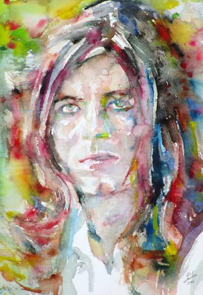 Ziggy Stardust Painting - David Bowie - Watercolor Portrait.13 by Fabrizio Cassetta