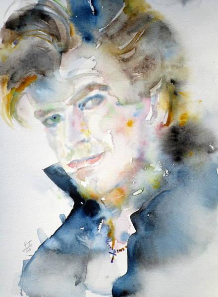 David Bowie Painting - David Bowie - Watercolor Portrait.9 by Fabrizio Cassetta