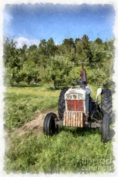 Vintage Tractor Painting - David Brown Case Vintage Tractor by Edward Fielding