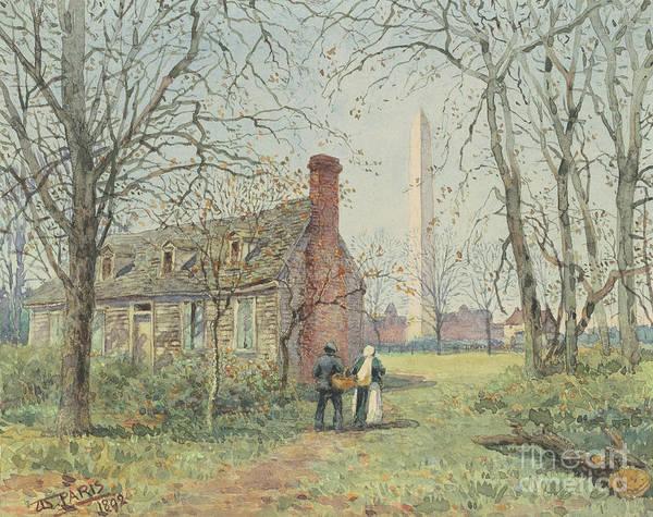Wall Art - Painting - David Burns's Cottage And The Washington Monument, Washington Dc, 1892  by Walter Paris