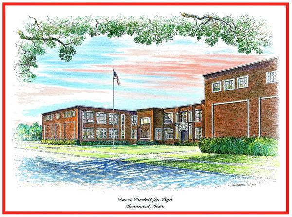Drawing - David Crockett Junior High School by Randy Welborn
