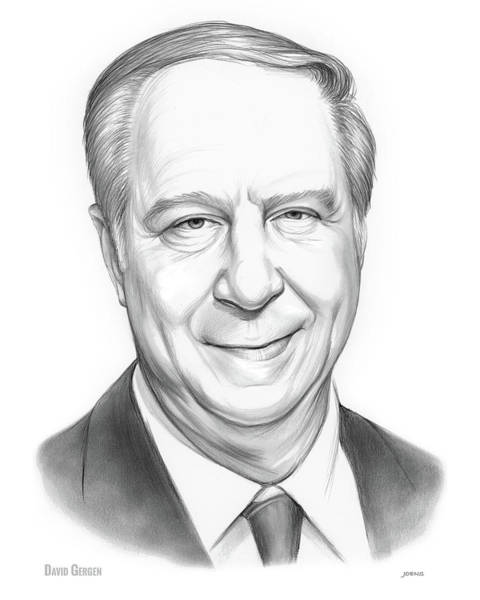 Political Wall Art - Drawing - David Gergen by Greg Joens