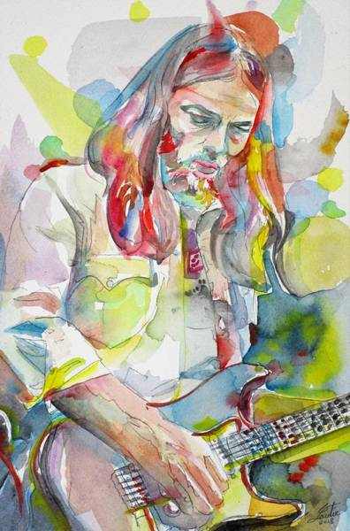 Pink Floyd Painting - David Gilmour - Watercolor Portrait.1 by Fabrizio Cassetta