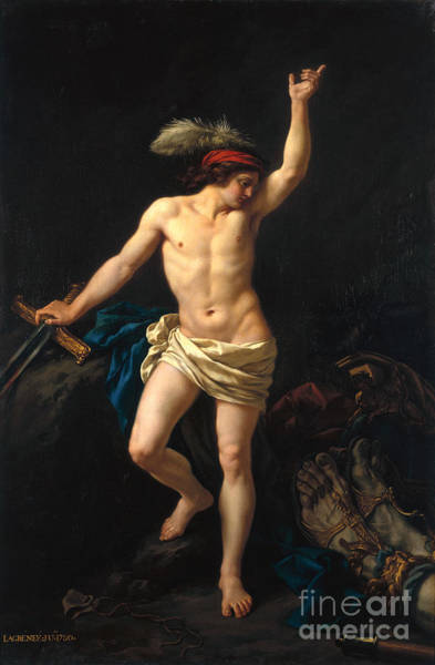 Big Small Painting - David Victorious by Jean Jacques II Lagrenee