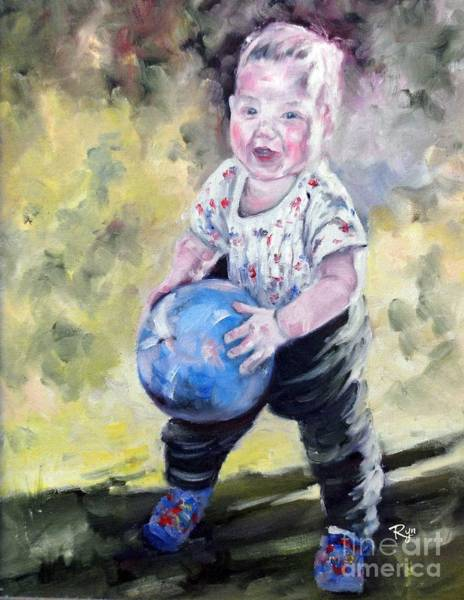 Painting - David With His Blue Ball by Ryn Shell