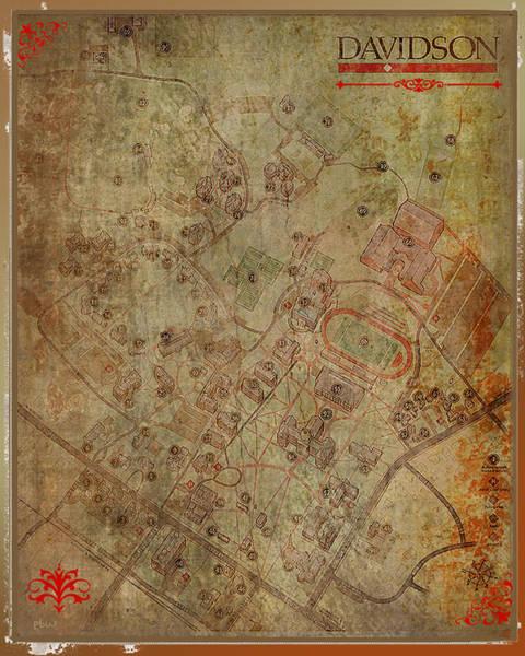 Digital Art - Davidson College Map by Paulette B Wright