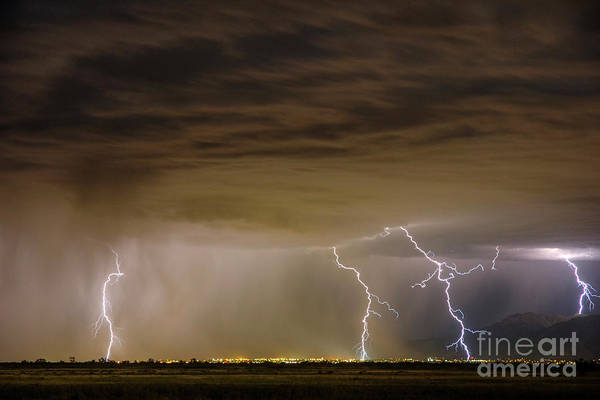 Photograph - Davis County Lightning by Spencer Baugh