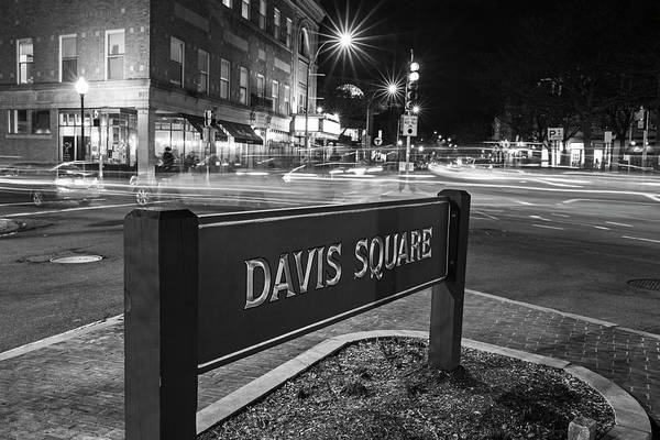 Photograph - Davis Square Sign Somerville Ma Black And White by Toby McGuire