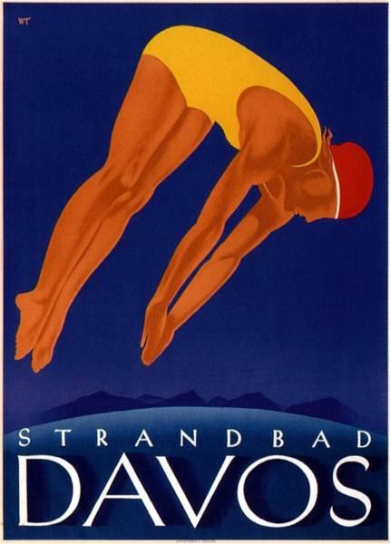 Kunst Painting - Davos Vintage Travel Poster Blue by Studio Grafiikka