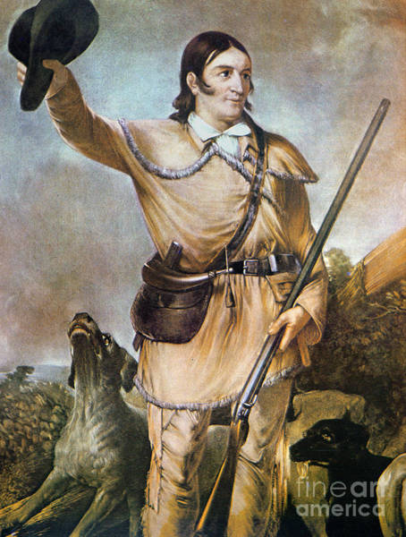 Wall Art - Painting - Davy Crockett With His Hunting Dogs In 1836 by American School