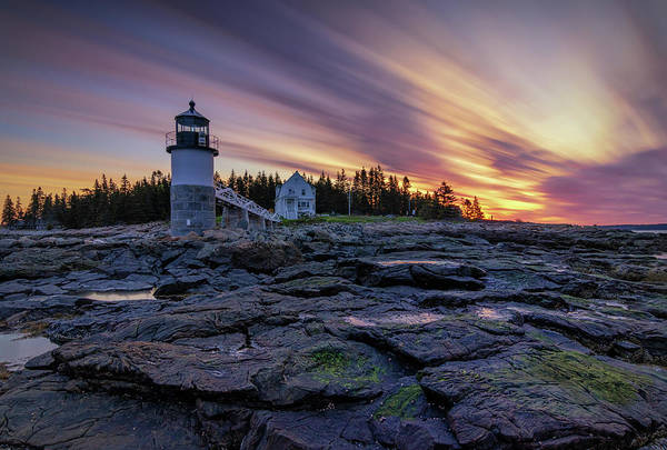 Dawn Breaking At Marshall Point Lighthouse Art Print
