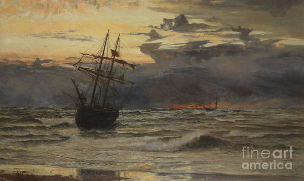 Deep Ocean Painting - Dawn After The Storm by William Lionel Wyllie