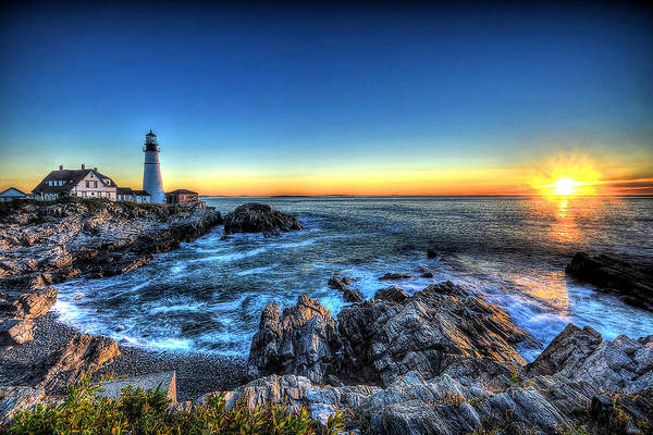 Photograph - Dawn At Portland Head Lighthouse by Don Mercer