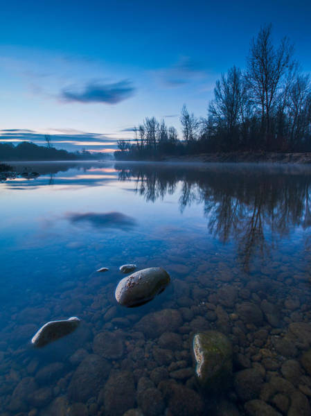 Blue Sky Wall Art - Photograph - Dawn At River by Davorin Mance