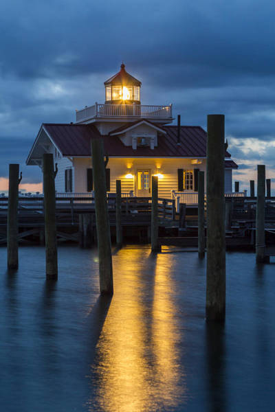 Photograph - Dawn At Roanoke Marshes Lighthouse by Liza Eckardt