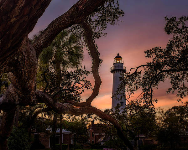 Photograph - Dawn At Saint Simons Lighthouse - Horizontal by Chris Bordeleau
