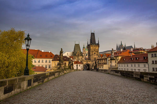 Wall Art - Photograph - Dawn Breaks Over Prague From The St. Charles Bridge by Bridget Calip