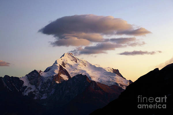 Photograph - Dawn Cloud Above Mt Huayna Potosi 1 by James Brunker