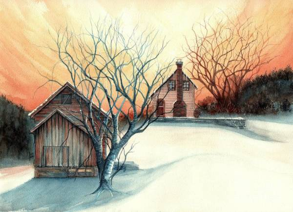 Pocono Mountains Wall Art - Painting - Dawn Has Spoken - Farmhouse Sunrise by Janine Riley