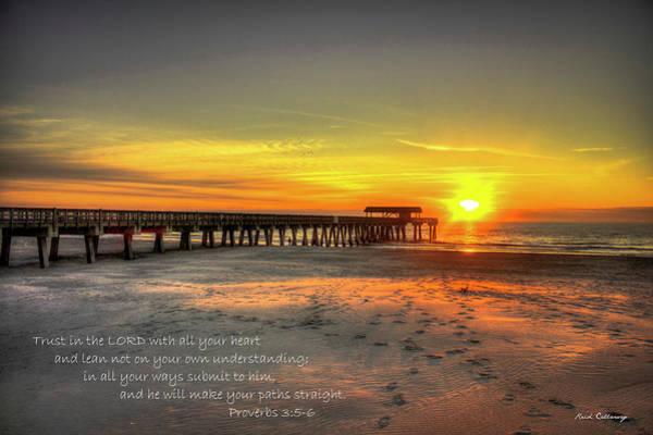 Photograph - Dawn Tybee Pier Proverbs 3 Tybee Island Sunrise Scripture Ar by Reid Callaway