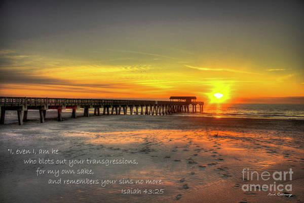 Photograph - Dawn Tybee Pier Isaiah 43 25 Tybee Island Sunrise Scripture Art by Reid Callaway