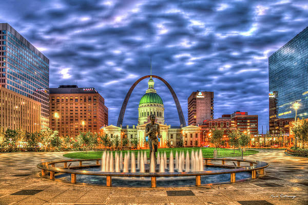 Photograph - Dawn Kiener Plaza St Louis Gateway Arch Old St Louis County Court House Missouri Art by Reid Callaway