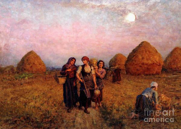 Full Moon Painting - Dawn Labor, 1900 by Jules Breton