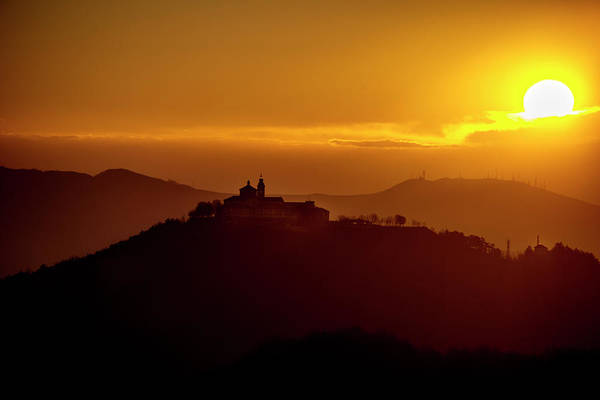 Photograph - Dawn On Guardia Genova Sanctuary From Alta Via Dei Monti Liguri by Enrico Pelos