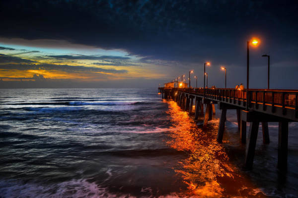 Photograph - Dawn On The Gulf State Pier, Gulf Shores Al by Michael Thomas