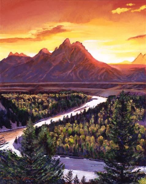 Wall Art - Painting - Dawn Over The Grand Tetons by David Lloyd Glover