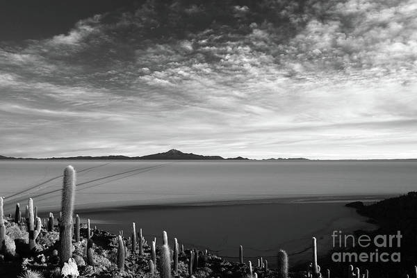 Photograph - Dawn Panorama Of Salar De Uyuni In Black And White Bolivia by James Brunker