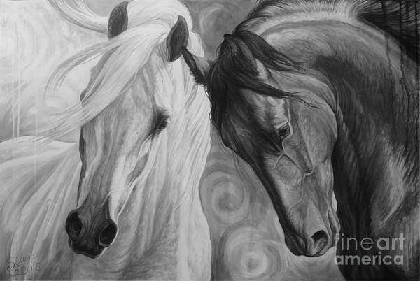 White Horse Painting - Day And Night by Silvana Gabudean Dobre