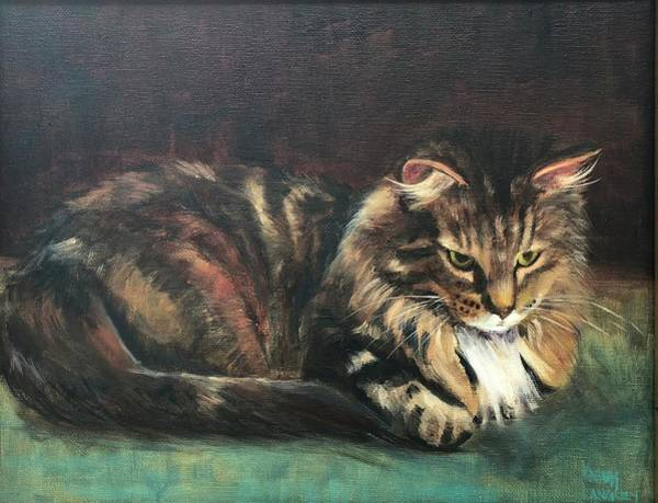Wall Art - Painting - Day Dreaming Kitty by Karen Langley
