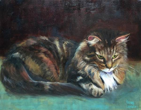 Wall Art - Painting - Day Dreaming Tabby by Karen Langley
