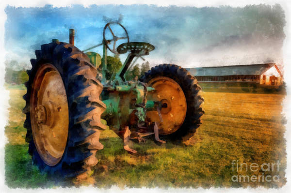 Vintage Tractor Painting - Day Is Done Watercolor by Edward Fielding