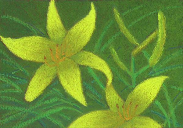 Pastel - Day Lilies by Anne Katzeff