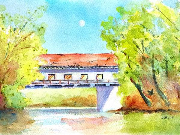 Wall Art - Painting - Day Moon Over Covered Bridge by Carlin Blahnik CarlinArtWatercolor