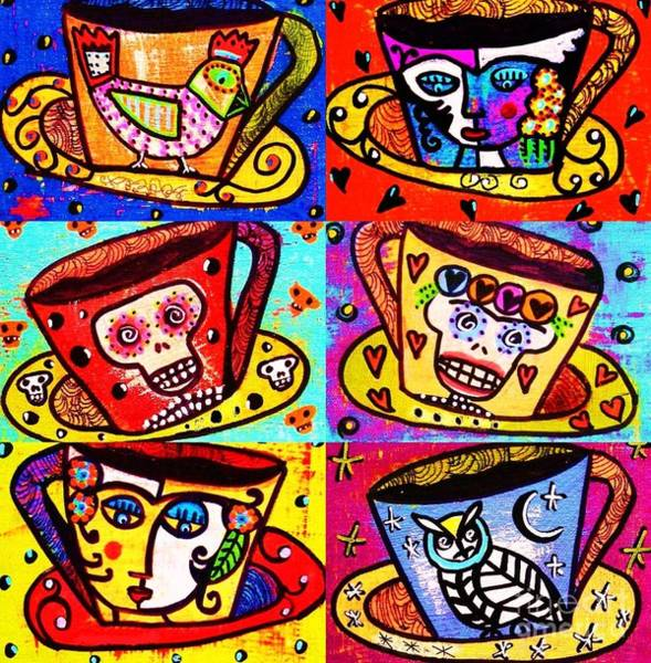 Painting - -day Of The Dead Cafe Cups by Sandra Silberzweig