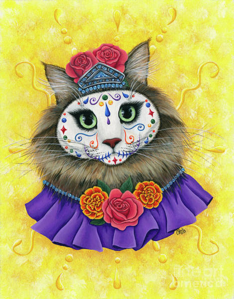 Painting - Day Of The Dead Cat Princess - Dia De Los Muertos Gato by Carrie Hawks