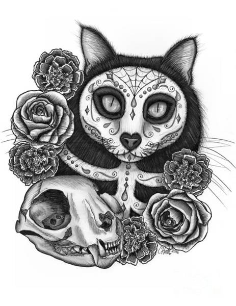 Drawing - Day Of The Dead Cat Skull - Sugar Skull Cat by Carrie Hawks