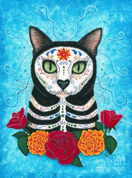 Day Of The Dead Cat - Sugar Skull Cat Art Print