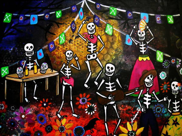 Wall Art - Painting - Day Of The Dead Festival by Pristine Cartera Turkus