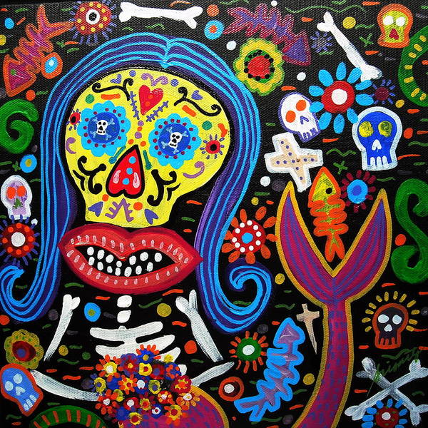 Painting - Day Of The Dead Mermaid by Pristine Cartera Turkus