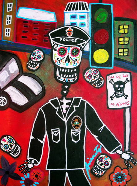 Harana Wall Art - Painting - Day Of The Dead Policeman by Pristine Cartera Turkus