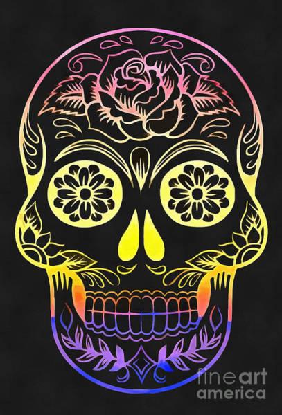 Wall Art - Digital Art - Day Of The Dead Sugar Skull  by Edward Fielding