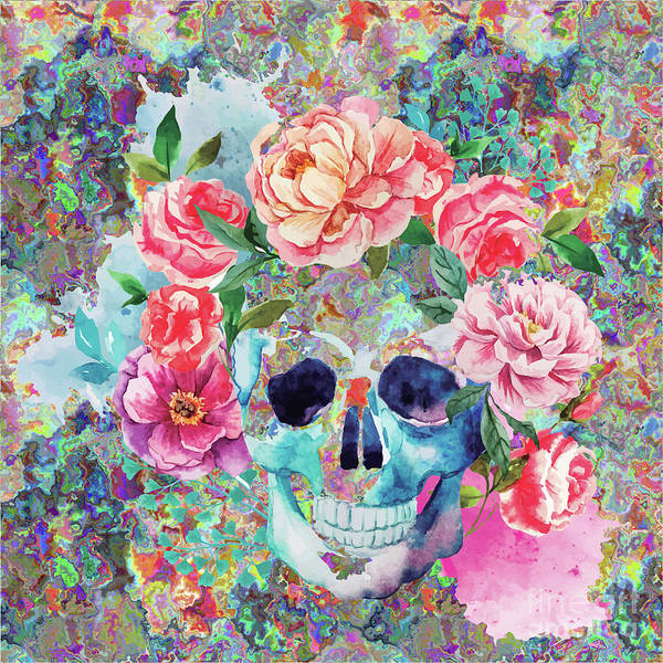 Digital Art - Day Of The Dead Watercolor by Digital Art Cafe